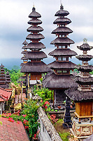 Bali, Karangasem, Besakih. The Mother Temple of Besakih, or Pura Besakih, on the slopes of Mount Agung. There are 22 temples in the complex.