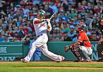 9 June 2012: Boston Red Sox outfielder Darnell McDonald in action against the visiting Washington Nationals at Fenway Park in Boston, MA. The Nationals defeated the Red Sox 4-2 in the second game of their 3-game series. Mandatory Credit: Ed Wolfstein Photo