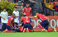 MEDELLIN -COLOMBIA, 7-MARZO-2015.  Hernan Hechalar del Independiente Medellin  celebra su gol con sus companeros contra el Chico FC   durante  partido  de la  fecha 8 ocho de La Liga Aguila I 2015  jugado en el estadio Atanasio Girardot de la ciudad de Medellin  . / Hernan Hechalar celebrates hid goal with his parnets  during match   eight  date of  La Liga Aguila I  2015  played in the Atanasio Girardot stadium in Medellin City . /  Photo /VizzorImage / Leon Monsalve  / Stringer