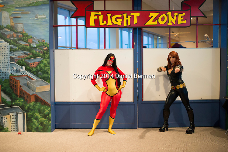 Abby Sue C., left, and Jeri Kandra came representing their organization, Comic Book Characters for Causes, as fans of the Captain Marvel and Ms. Marvel comics hang out during the Carol Corps Celebration Thursday March 27, 2014 at the Museum of Flight in Seattle. Held the day before Emerald City Comicon kicked off, the event raised funds for Girls Leadership Institute and offered a chance for fans to meet and chat with Captain Marvel writer Kelly Sue DeConnick and Ms. Marvel writer G. Willow Wilson. Photo by Daniel Berman for WIRED.com