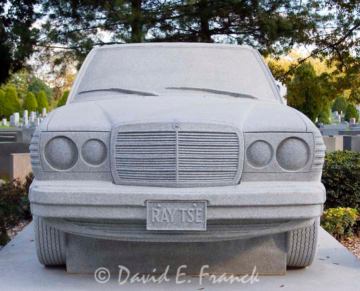 Ray Tse, Jr. died in 1981 at the age of 15. His millionaire brother, David, commissioned a 36-ton granite memorial sculpted to resemble a full-size 1982 Mercedes Benz 2400 Diesel limousine.