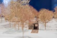 """Auf dem Gelaende des Einsatzfuehrungskommando der Bundeswehr, der Henning-von-Tresckow-Kaserne bei Potsdam, wurde ein Ehrenhain zum Gedenken an die im Einsatz verstorbenen Bundeswehrangehoerigen eingerichtet. In diesem """"Wald der Erinnerunge"""" sind die Gedenkhaine aus den Einsatzgebieten der Bundeswehr errichtet worden. Zum Teil originalgetreu nachgebildet von den Orten in denen die Bundeswehr eingesetzt war und Angehoerige verstorben sind.<br /> Im Bild: Modell des Ehrenhain.<br /> 14.11.2014, Potsdam<br /> Copyright: Christian-Ditsch.de<br /> [Inhaltsveraendernde Manipulation des Fotos nur nach ausdruecklicher Genehmigung des Fotografen. Vereinbarungen ueber Abtretung von Persoenlichkeitsrechten/Model Release der abgebildeten Person/Personen liegen nicht vor. NO MODEL RELEASE! Don't publish without copyright Christian-Ditsch.de, Veroeffentlichung nur mit Fotografennennung, sowie gegen Honorar, MwSt. und Beleg. Konto: I N G - D i B a, IBAN DE58500105175400192269, BIC INGDDEFFXXX, Kontakt: post@christian-ditsch.de<br /> Urhebervermerk wird gemaess Paragraph 13 UHG verlangt.]"""