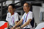 (L-R)  Yuko Arakida, € Ichiro Hoshino, <br /> AUGUST 15, 2018 - Basketball : Women's Qualification round match between Hong Kong 44-121 Japan at Gelora Bung Karno Basket Hall A during the 2018 Jakarta Palembang Asian Games in Jakarta, Indonesia.<br /> (Photo by MATSUO.K/AFLO SPORT)