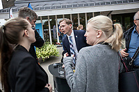 August 30, 2018: ROGER HEDLUND, a 38 years-old MP and member of the SD board in Gävle municipality for the Swedish Democrats (Sverigedemokraterna) and LIZ ZACHARIASSON, a 27 years-old member of the SD since 2009, speak out with supporters after a public debate held in Ockelbo city with members of the Social Democrats party (Socialdemokraterna) (not-pictured), Roger and Liz are running for the Gälve and the Ockelbo municipality respectively.