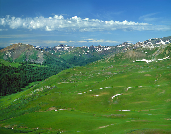 View of Schoefield Pass from West Elk Pass, Elk Mountains, Crested Butte, Colorado, USA. .  John offers private wildflower tours in the Crested Butte area and throughout Colorado. Year-round.