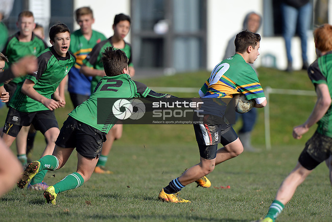 NELSON, NEW ZEALAND - AUGUST 6: Rugby U14 Garin-Marist v Nelson College Country, 6.8.16, Garin College , August 6, 2016, Nelson, New Zealand. (Photo by: Barry Whitnall Shuttersport Limited)