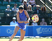 June 17th 2017, Nottingham, England; WTA Aegon Nottingham Open Tennis Tournament day 6;  Donna Vekic of Croatia plays a backhand in her semi final match against Lucie Safarova of Czech Republic