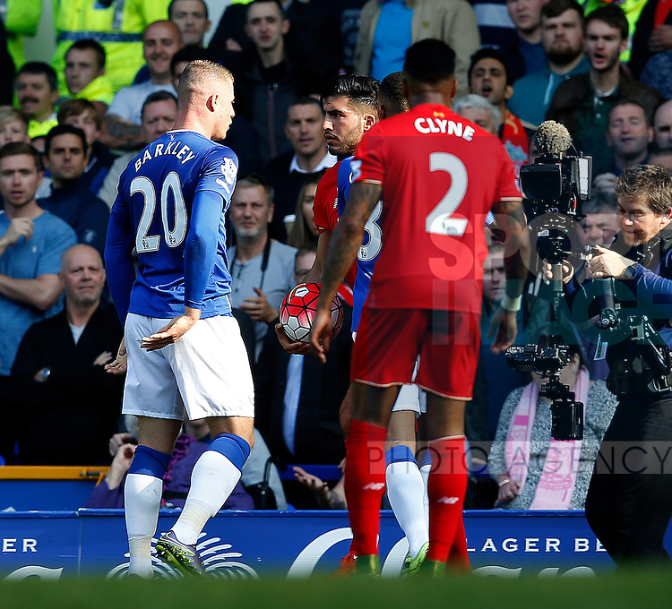 Ross Barkley of Everton clashes with Emre Can of Liverpool - English Premier League - Everton vs Liverpool - Goodison Park Stadium - Liverpool - England - 04th October 2015 - Picture Simon Bellis/Sportimage