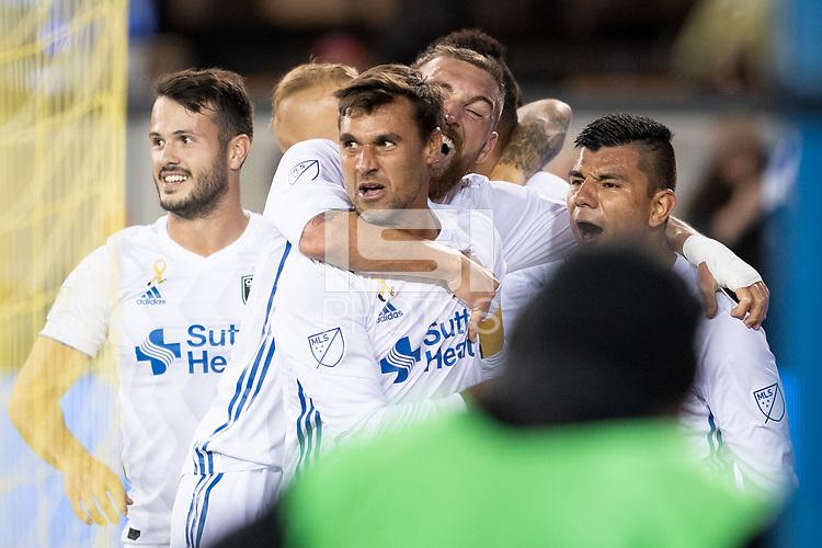 San Jose, CA - Wednesday September 19, 2018: Chris Wondolowski, goal waved off during a Major League Soccer (MLS) match between the San Jose Earthquakes and Atlanta United FC at Avaya Stadium.