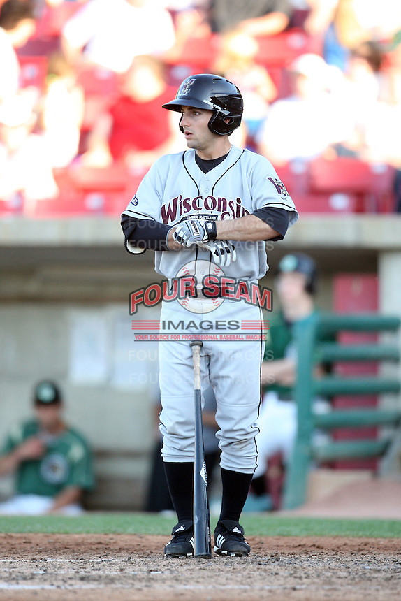 May 27, 2010: Peter Fatse (10) of the Wisconsin Timber Rattlers at Elfstrom Stadium in Geneva, IL. The Timber Rattlers are the Midwest League Class A affiliate of the Milwaukee Brewers. Photo by: Chris Proctor/Four Seam Images