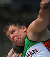 Tasman's Dale Pritchard competes in the senior men's shot put on day three of the 2015 National Track and Field Championships at Newtown Park, Wellington, New Zealand on Sunday, 8 March 2015. Photo: Dave Lintott / lintottphoto.co.nz