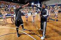 18 November 2010:  FIU's Marvin Roberts (11) is welcomed to the court prior to the game.  The Florida State University Seminoles defeated the FIU Golden Panthers, 89-66, at the U.S. Century Bank Arena in Miami, Florida.