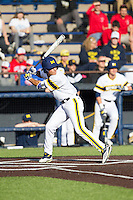 Michigan Wolverines outfielder Cody Bruder (3) at bat against the Eastern Michigan Hurons on May 3, 2016 at Ray Fisher Stadium in Ann Arbor, Michigan. Michigan defeated Eastern Michigan 12-4. (Andrew Woolley/Four Seam Images)