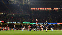 Wales' Alun Wyn Jones wins the line out <br /> <br /> Photographer Ian Cook/CameraSport<br /> <br /> Under Armour Series Autumn Internationals - Wales v Scotland - Saturday 3rd November 2018 - Principality Stadium - Cardiff<br /> <br /> World Copyright © 2018 CameraSport. All rights reserved. 43 Linden Ave. Countesthorpe. Leicester. England. LE8 5PG - Tel: +44 (0) 116 277 4147 - admin@camerasport.com - www.camerasport.com