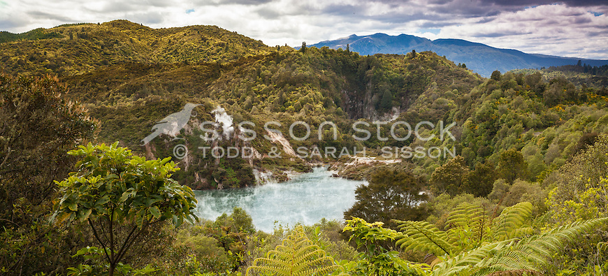 View over Waimungu Thermal area, including Cathedral Rock, near Rotorua, North Island, New Zealand - stock photo, canvas, fine art print