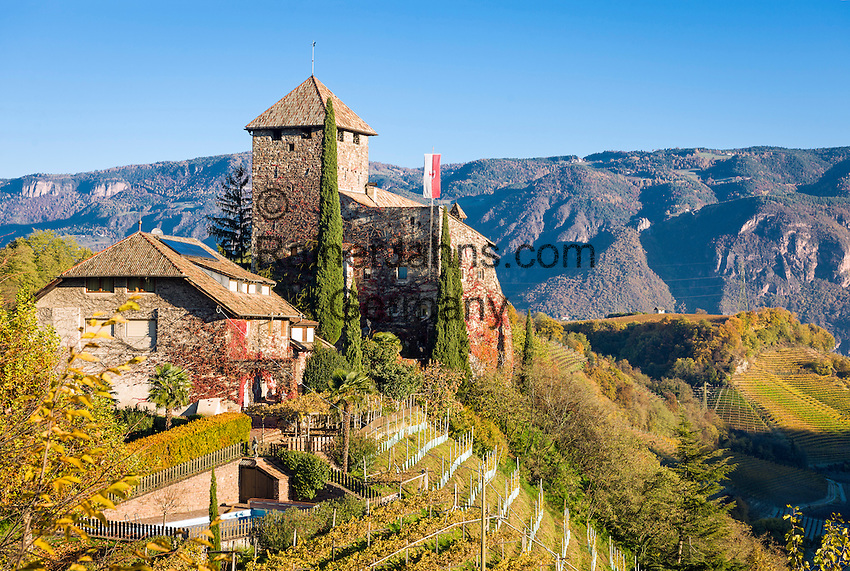 Italy, South Tyrol (Alto Adige), Appiano sulla Strada del Vino, below district St. Pauls is Castle Warth surrounded by vineyards at the South Tyrolean Wine Route and Eppan Castle Route | Italien, Suedtirol, Eppan, unterhalb St. Pauls steht das Schloss Warth umgeben von Weinbergen an der Suedtiroler Weinstrasse und der Eppaner Burgenstrasse