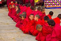 Monks at Shugdrel ceremony, Paro Teschu festival, Paro Dzong Monastery,  Paro Valley, Bhuta