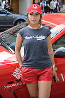 Chloe Green at the end of the Cash and Rocket Rally, Knightsbridge, London. 08/06/2014 Picture by: Steve Vas / Featureflash