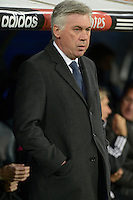 MADRID - ESPAÑA - 04-02-2015: Carlo Anccelotti, tecnico de Real Madrid durante partido de La Liga de BBVA de España 2015, Real Madrid  y Sevilla en el estadio Santiago Bernabeu de la ciudad de Madrid / Carlo Anccelotti,  coach of Real Madrid during a match between Real Madrid and Sevilla for the La Liga de BBVA de España 2015 in the Santiago Bernabeu stadium in Madrid, Spain  Photo: Asnerp / Patricio Realpe / VizzorImage.