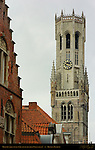 Belfort Bell Tower 1240, South Side from Wollestraat, Bruges, Brugge, Belgium