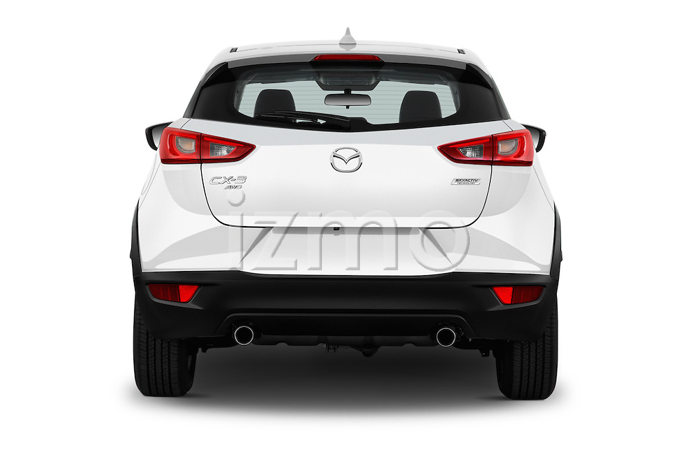 Straight rear view of 2017 Mazda CX-3 Touring-AWD 5 Door SUV Rear View  stock images