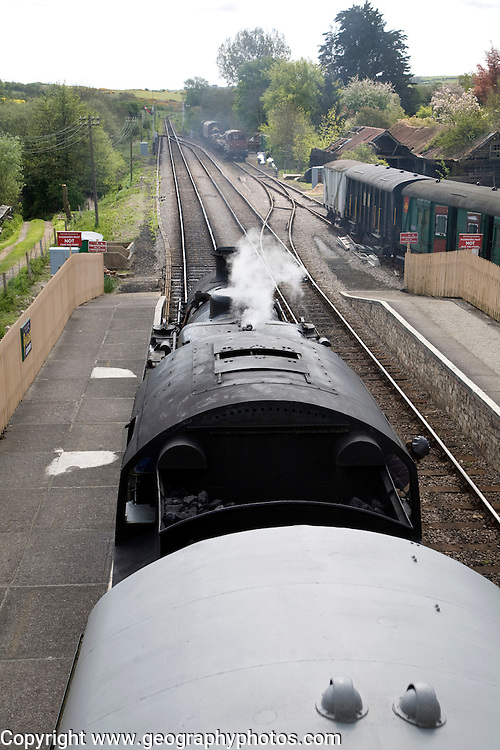 Steam railway Corfe Castle to Swanage Dorset England. The Swanage Railway is situated on the Isle of Purbeck in the south east corner of the picturesque county of Dorset
