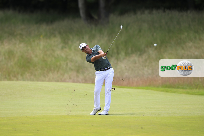Christiaan Bezuidenhout (RSA) on the 2nd during Round 4 of the Aberdeen Standard Investments Scottish Open 2019 at The Renaissance Club, North Berwick, Scotland on Sunday 14th July 2019.<br /> Picture:  Thos Caffrey / Golffile<br /> <br /> All photos usage must carry mandatory copyright credit (© Golffile | Thos Caffrey)