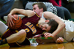01/17/13--Central Catholic's Xavier Hallinan (0) rams his head into Jesuit Crusaders guard Jack Nadelhoffer (21) in the first half at Knight Center.<br /> Photo by Jaime Valdez