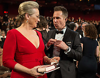 Oscar&reg;-nominee Meryl Streep and Oscar-winner Sam Rockwell speak with each other during the live ABC Telecast of the 90th Oscars&reg; at the Dolby&reg; Theatre in Hollywood, CA on Sunday, March 4, 2018.<br /> *Editorial Use Only*<br /> CAP/PLF/AMPAS<br /> Supplied by Capital Pictures