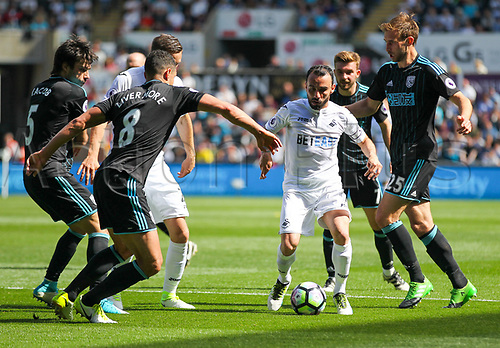 May 21st 2017, Liberty Stadium, Swansea Wales;  EPL Premier league football, Swansea versus West Bromwich Albion; Leon Britton of Swansea City (C) in action during the match