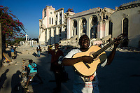 Port au Prince, Haiti, January 15 2010.Calixte Oudens, a blind street singer almost died with his family when its house collapsed. He already composed a beautiful song about the disaster. Cathedrale Notre-Dame was totally destroyed during the 12th january earthquake, measuring 7.0 on the Richter scale. Most of Port au Prince landmarks have been severely damaged.