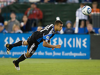 Jason Hernandez of Earthquakes hits the ball during the game against the Sounders at Buck Shaw Stadium in Santa Clara, California on July 31st, 2010.   Seattle Sounders defeated San Jose Earthquakes, 1-0.
