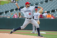 Bowie, MD - May 21, 2017: Binghamton Rumble Ponies pitcher Casey Delgado (21) throws a pitch during the MiLB game between Binghamton and Bowie at  Baysox Stadium in Bowie, MD.  (Photo by Elliott Brown/Media Images International)