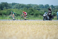 early escape duo of the day: Thomas Voeckler (FRA/Europcar) &amp; Luis Angel Mate (ESP/Cofidis)<br /> <br /> 2014 Tour de France<br /> stage 4: Le Touquet-Paris-Plage/Lille M&eacute;tropole (163km)