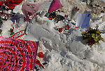 A makeshift memorial on campus a day after a deadly school shooting at Northern Illinois University in DeKalb, Illinois, on February 15, 2008. Stephen Kazmierczak, 27, opened fire at Cole Hall in the university on February 14 killing five students and wounding 15 others before turning his gun on himself, police said.