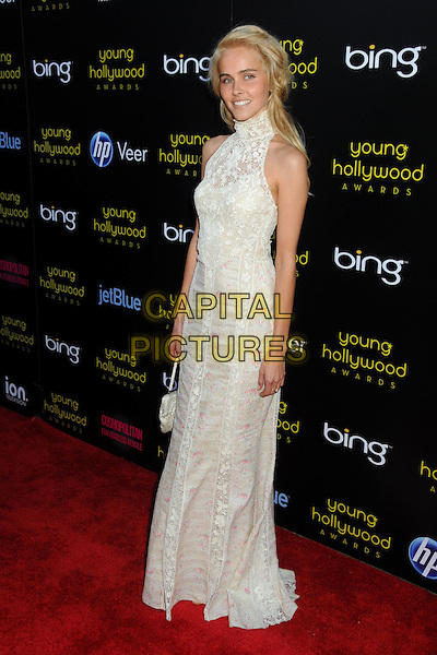 ISABEL LUCAS .2011 Young Hollywood Awards Presented by Bing held at Club Nokia,  Los Angeles, California, USA, .20th May 2011. .full length long maxi dress cream sheer  white lace high neck sleeveless .CAP/ADM/BP.©Byron Purvis/AdMedia/Capital Pictures.