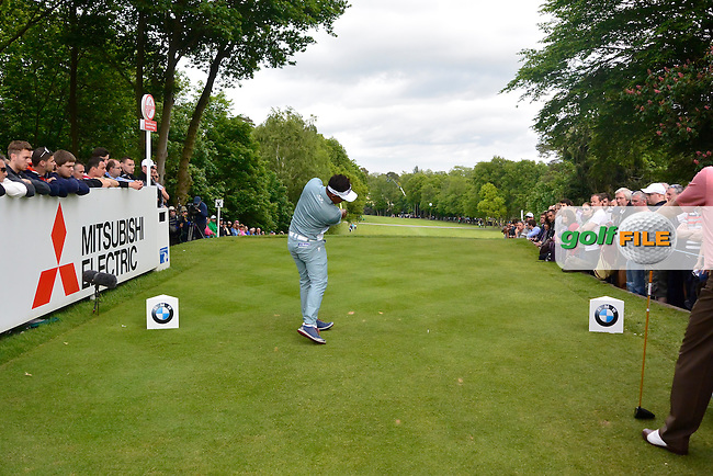 Thongchai JAIDEE (THA) during round 2 of the 2015 BMW PGA Championship over the West Course at Wentworth, Virgina Water, London. 22/05/2015<br /> Picture Fran Caffrey, www.golffile.ie: