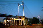 12/1/2006--Kolkata (Calcutta), India..Prinsep Monument with new Vidyasagar Setu cable bridge behind...Photograph by Stuart Isett.©2004 Stuart Isett. All rights reserved
