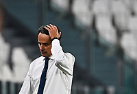 Calcio, Serie A: Juventus - Lazio, Allianz Stadium, July 20, 2020.<br /> Lazio's coach Simone Inzaghi reacts during the Italian Serie A football match between Juventus and Lazio at the Allianz stadium in Turin, July 20, 2020.<br /> UPDATE IMAGES PRESS/Isabella Bonotto
