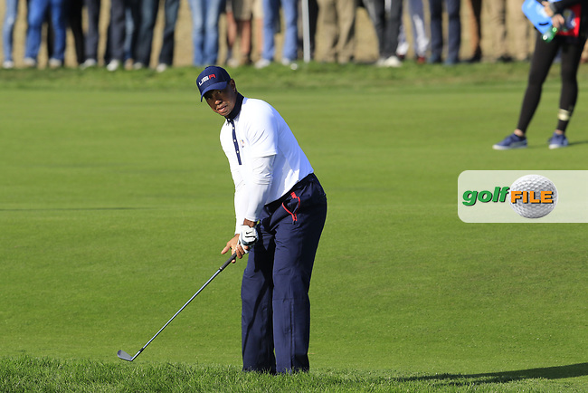 Tiger Woods (Team USA) prepares to play his 2nd shot on the 13th hole during Saturday's Foursomes Matches at the 2018 Ryder Cup 2018, Le Golf National, Ile-de-France, France. 29/09/2018.<br /> Picture Eoin Clarke / Golffile.ie<br /> <br /> All photo usage must carry mandatory copyright credit (© Golffile | Eoin Clarke)