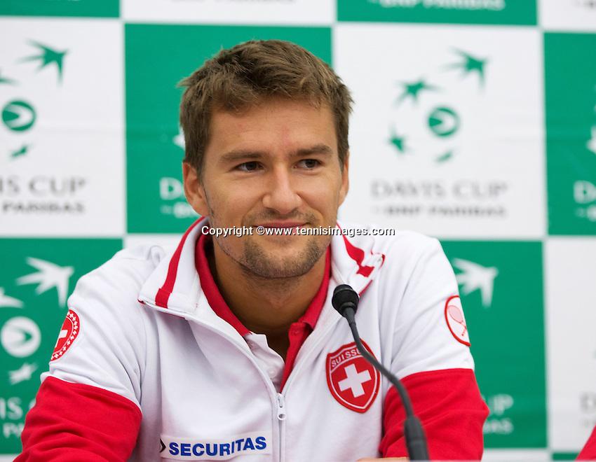 Swiss, Genève, September 14, 2015, Tennis,   Davis Cup, Swiss-Netherlands, press conference Swiss team , Marco Chiudinelli<br /> Photo: Tennisimages/Henk Koster