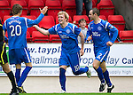 St Johnstone v Hibs...02.10.10  .Liam Craig celebrates his goal with Dave Mackay and Murray Davidson.Picture by Graeme Hart..Copyright Perthshire Picture Agency.Tel: 01738 623350  Mobile: 07990 594431