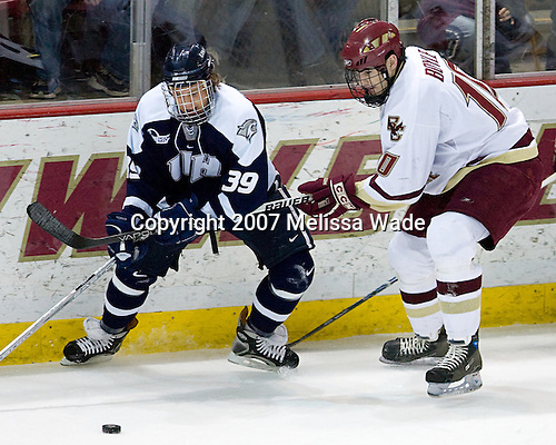 Matt Fornataro (UNH - Calgary, AB), Brian Boyle (Boston College - Hingham, MA) - The Boston College Eagles defeated the University of New Hampshire Wildcats 4-2 on BC's senior night, Saturday, March 3, 2007, at Kelley Rink at Silvio O. Conte Forum in Chestnut Hill, Massachusetts.