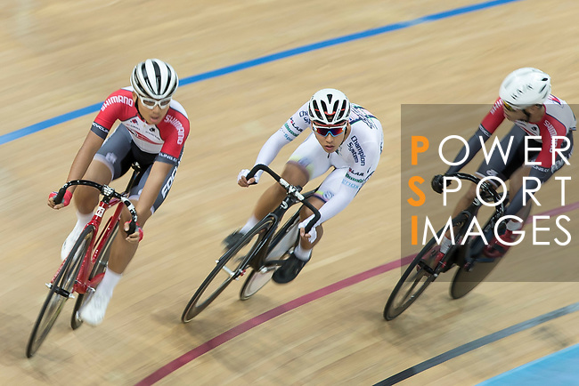 (L-R) Choi Kwan Lok of the SCAA, Chan Yik Ming Ricky of the X SPEED and Fong Cheuk Shan of the SCAA competes in the Men Junior - Pointe Race 15km category during the  Hong Kong Track Cycling National Championships 2017 at the Hong Kong Velodrome on 18 March 2017 in Hong Kong, China. Photo by Chris Wong / Power Sport Images