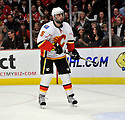MARK GIORDANO,  of the Calgary Flames in action  during the Flames  game against the Chicago Blackhawks at the United Center in Chicago, IL.  The Chicago Blackhawks beat the Calgary Flames 4-2 in Chicago, Illinois on December 5, 2011....