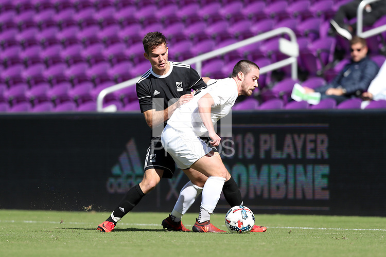 Orlando, Florida - Monday January 15, 2018: Danny Musovski and George Campbell. Match Day 2 of the 2018 adidas MLS Player Combine was held Orlando City Stadium.