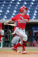 Philadelphia Phillies first baseman Brock Stassi #28 during an Instructional League game against the Toronto Blue Jays at Brighthouse Field on October 7, 2011 in Clearwater, Florida.  (Mike Janes/Four Seam Images)