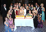 Michael McGrath, Judy Kaye, Kelli O'Hara, Matthew Broderick, Estelle Parsons and the ensemble cast backstage celebrating the 200th Performance of 'Nice Work if You Can Get It' on Broadway at the Imperial Theatre on October 17, 2012 in New York City.