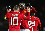 Wayne Rooney of Manchester United celebrates with Paul Pogba after scoring his sides first goal  during the UEFA Europa League match at Old Trafford, Manchester. Picture date: November 24th 2016. Pic Matt McNulty/Sportimage