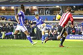 1st November 2017, St. Andrews Stadium, Birmingham, England; EFL Championship football, Birmingham City versus Brentford; Sam Gallagher of Birmingham City gets a strike on goal